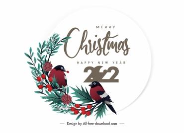 2022 calendar cover template elegant birds winter plants