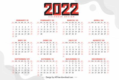 2022 calendar template bright flat plain decor