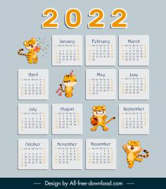 2022 calendar template cute baby tigers decor