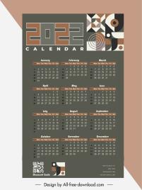 2022 calendar template dark design abstract pattern decor