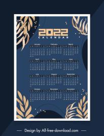 2022 calendar template dark design classic leaves decor