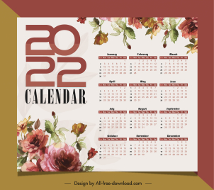 2022 calendar template elegant classical flowers decor
