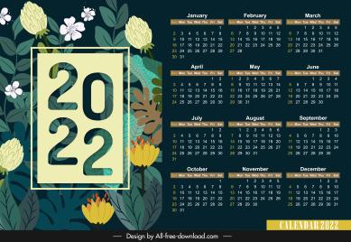 2022 calendar template elegant flowers dark multicolored