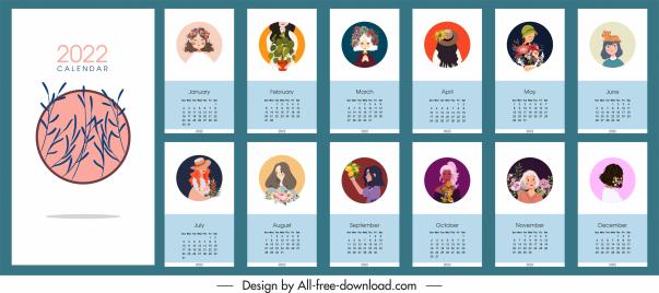 2022 calendar template elegant portrait floral decor