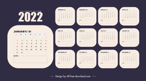 2022 calendar template flat plain decor
