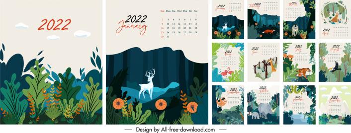2022 calendar templates nature elements decor