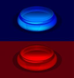 3d button templates dark red blue light effect