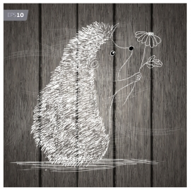 3d hand drawn porcupine on wooden background