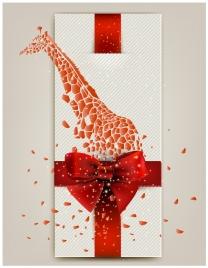 3d illustration of card design with blasting giraffe