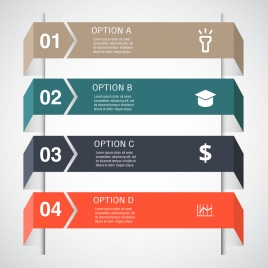 3d infographic vector design with horizontal tabs