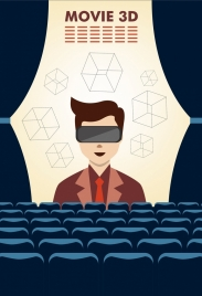 3d movie background human cubes icons theatre atmosphere