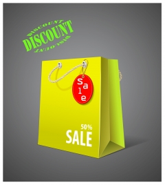 3d sale banner with bag on grey background