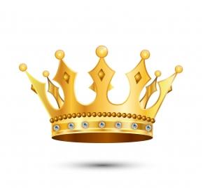 3d shiny golden crown design