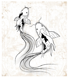 3d vector illsutration of hand drawn fishes painting