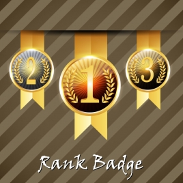 3d vector illustration of rank badge round icons