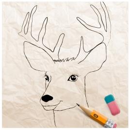 3d vector illustration of reindeer drawing
