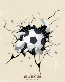 3d wall texture drawing breaking splash ball decoration