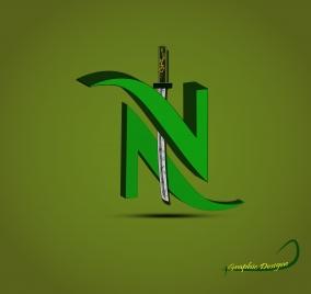 3d word n with samurai sword