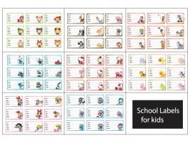 72 school labels for kids set 1