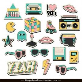 90s logo templates colorful symbols sketch
