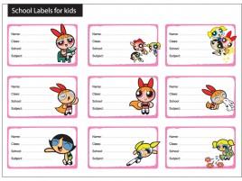 9 Powerpuff girls school labels for kids