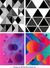 abstract background templates black white colorful geometric sketch
