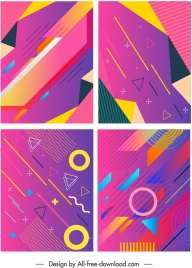 abstract background templates flat colorful geometric decor