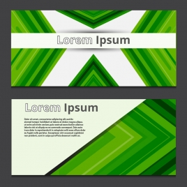 abstract banners sets design with delusion green background