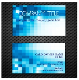 abstract blue square business card templates