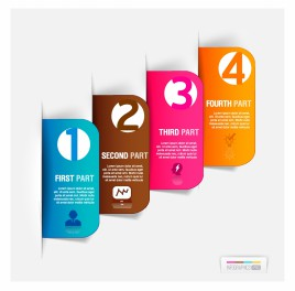 Abstract business paper cut infographics number template