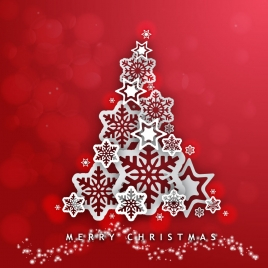 abstract christmas tree design on red background