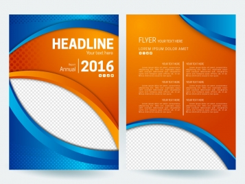 abstract flyer background with orange and blue color