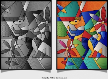 abstract painting dog flower icons colorful geometric design