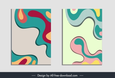 abstract paintings multicolored flat swirled shapes