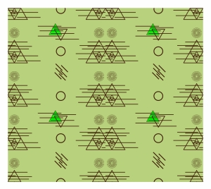 abstract repeating pattern with triangles and circles illustration