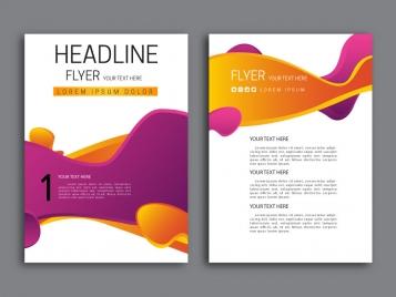 abstract violet and orange background flyer design