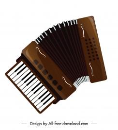 accordion instrument icon shiny brown decor contemporary design