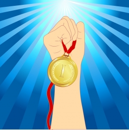 achievement background hand holding medal icon