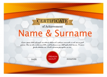 achievement certificate design with bokeh background