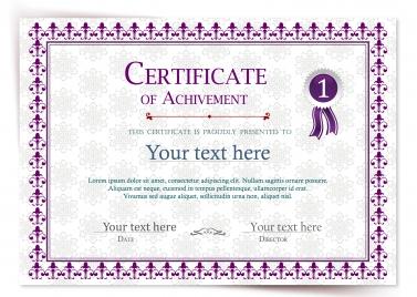 achievement certificate illustration with vignette violet style