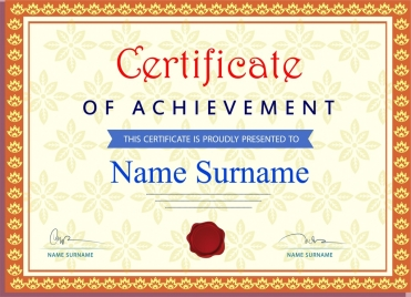 achievement certificate template classical style design