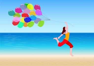 active girl icon joyful with colorful balloons ornament