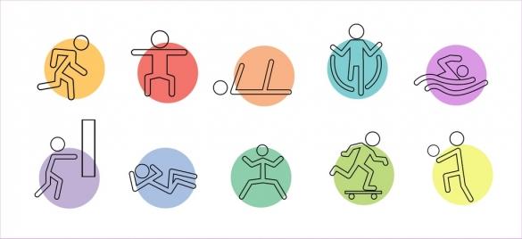 active icons human symbols draft various postures