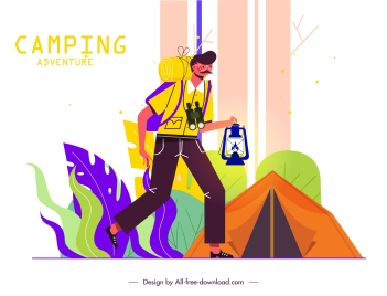 adventure camping background colorful classic design cartoon character