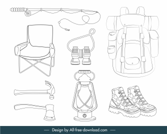 adventure camping design elements black white handdrawn sketch