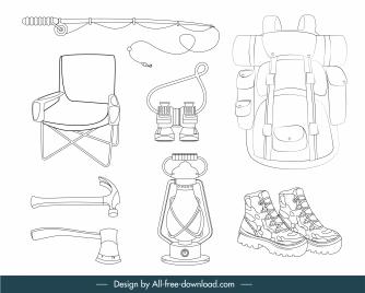adventure camping design elements black white handdrawn sketch