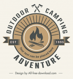 adventure camping logotype fire wood sketch classic design