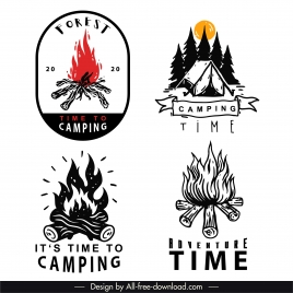 adventure camping logotypes handdrawn classic cottage firewood sketch