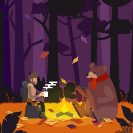 adventure drawing man bear autumn forest icons