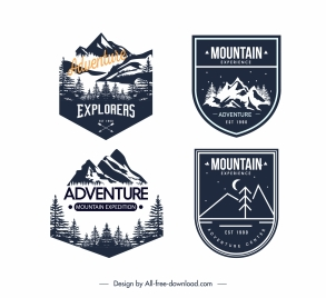 adventure exploration camping logotypes retro dark design